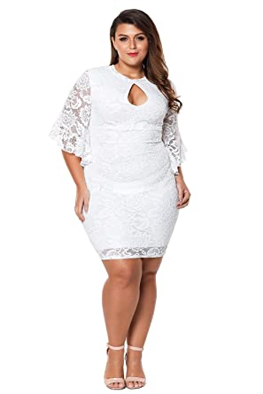 344b9e0770145 FUSENFENG Womens Plus Size Bell Sleeve Lace Bodycon Wedding Cocktail Party  Dress