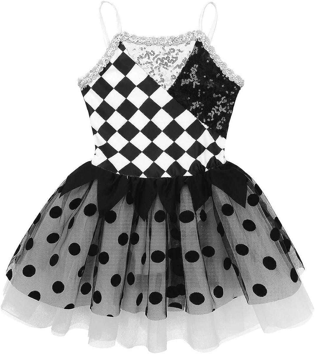 Kaerm Girls Kids Ringmaster Circus Costume Sequins Texudo Leotard Tutu Skirts Ballet Dance Dress