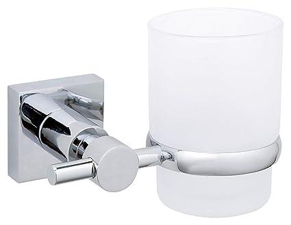 Tesa Hukk Soporte para cepillo de dientes (para la pared, cromo, Vidrio Satinado