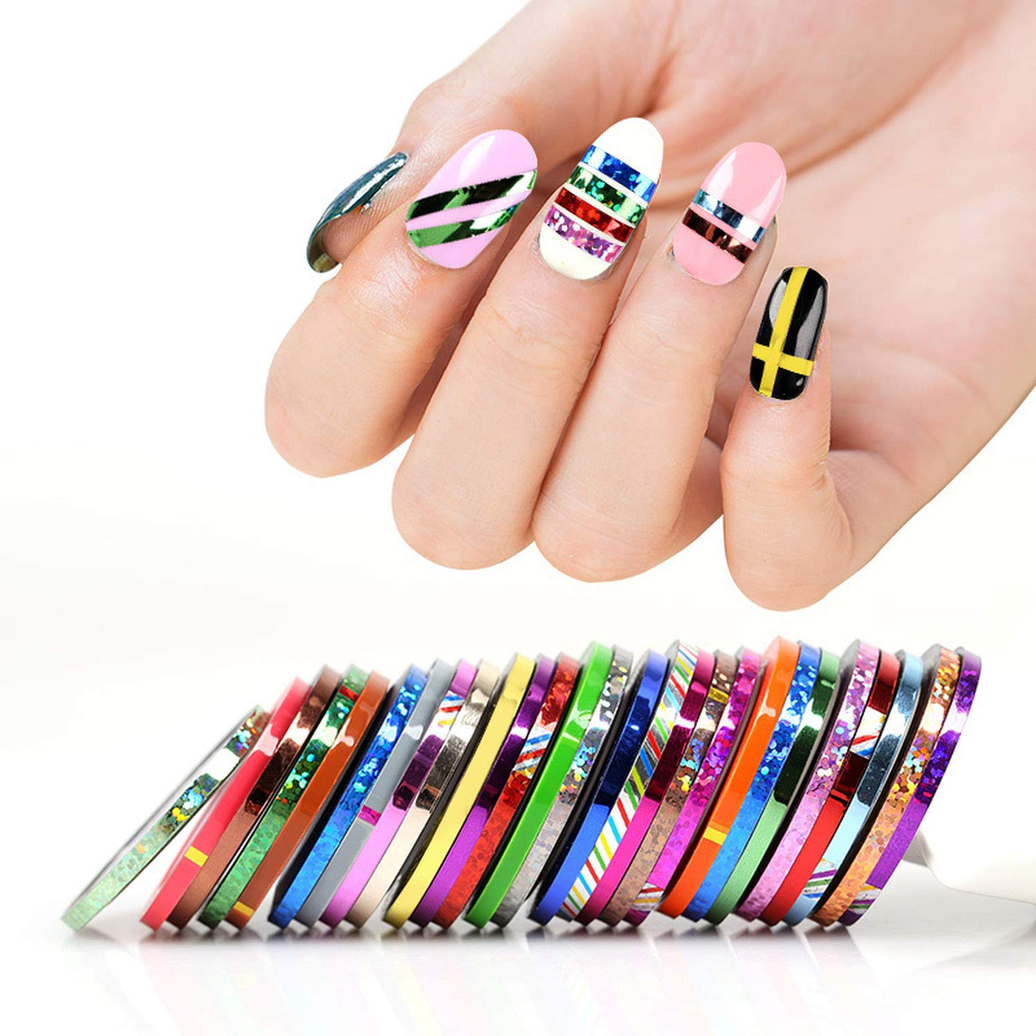 27 Pcs/Lot Mixed Colors 3Mm Nail Rolls Striping Tape Line Sticker Laser Shinning Sticker by ChicLadies