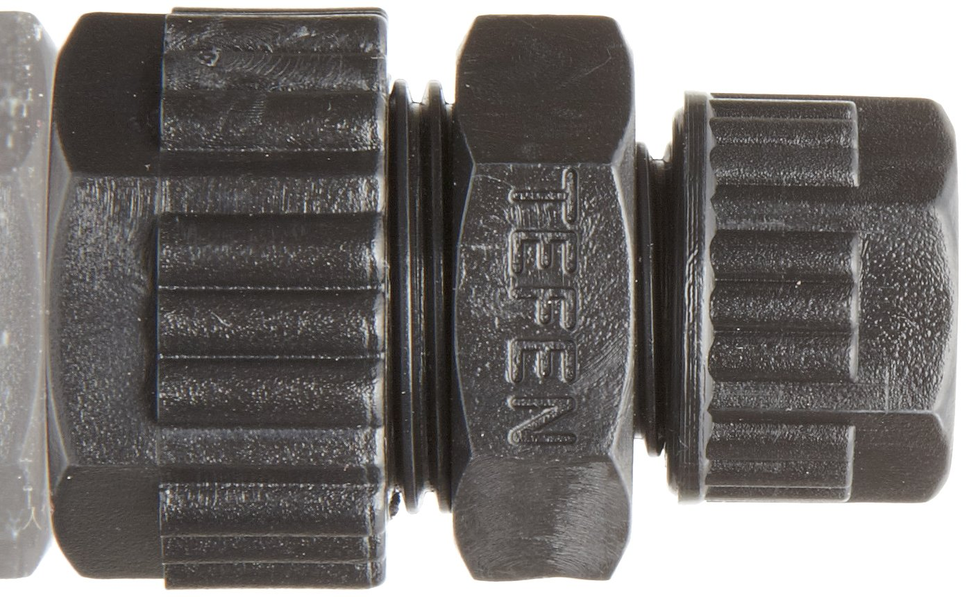 Black Pack of 5 Tefen Acetal Compression Tube Fitting Union 12 mm x 8 mm Tube OD