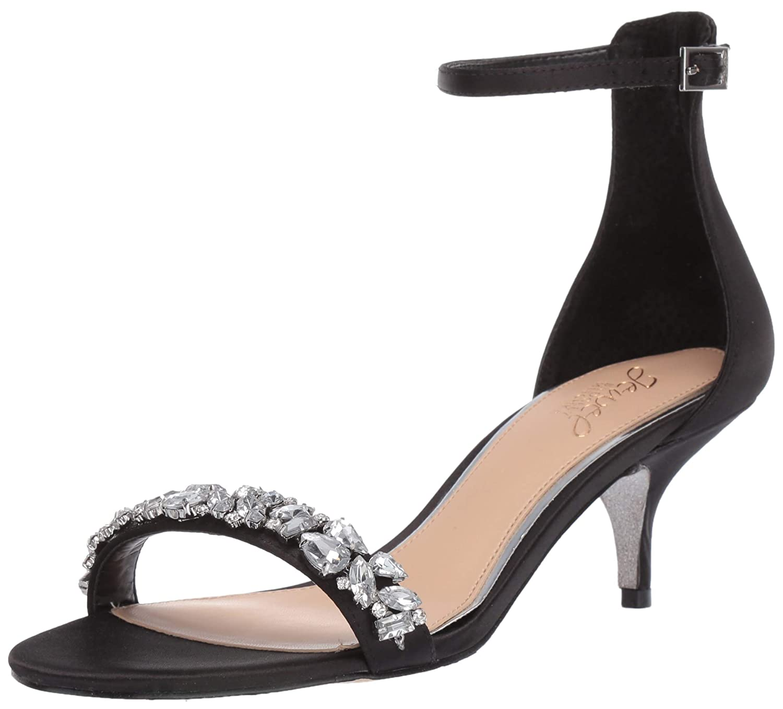Black Satin Badgley Mischka Womens Dash Heeled Sandal