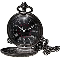 Allnice Pocket Watch Black Roman Retro Vintage Quartz Pocket Watch Roman Numerals Steampunk Fob Watch