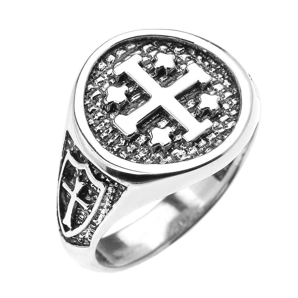 925 Sterling Silver Knights Templar Shield Crusader Band Jerusalem Cross Ring for Men (Size 12)