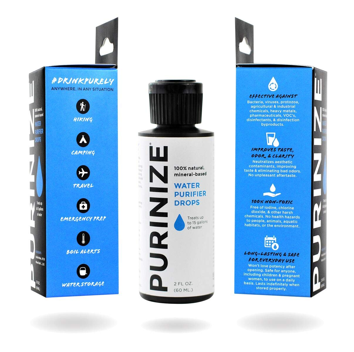 PURINIZE - The Best and Only Patented Natural Water Purifying Solution - Chemical Free Camping and Survival Water Purification