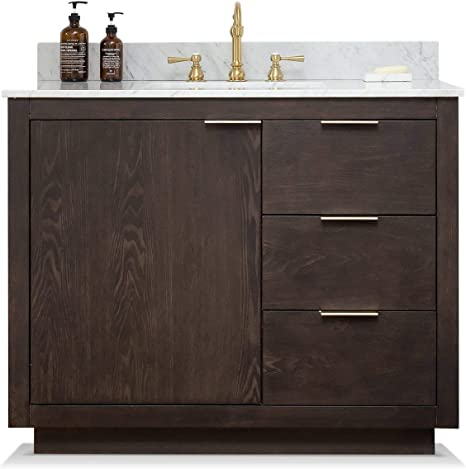 Amazon Com Urbanfurnishing Net Brady 42 Inch 42 Mid Century Bathroom Sink Vanity Set With White Italian Carrara Marble Top Brown Oak Home Kitchen