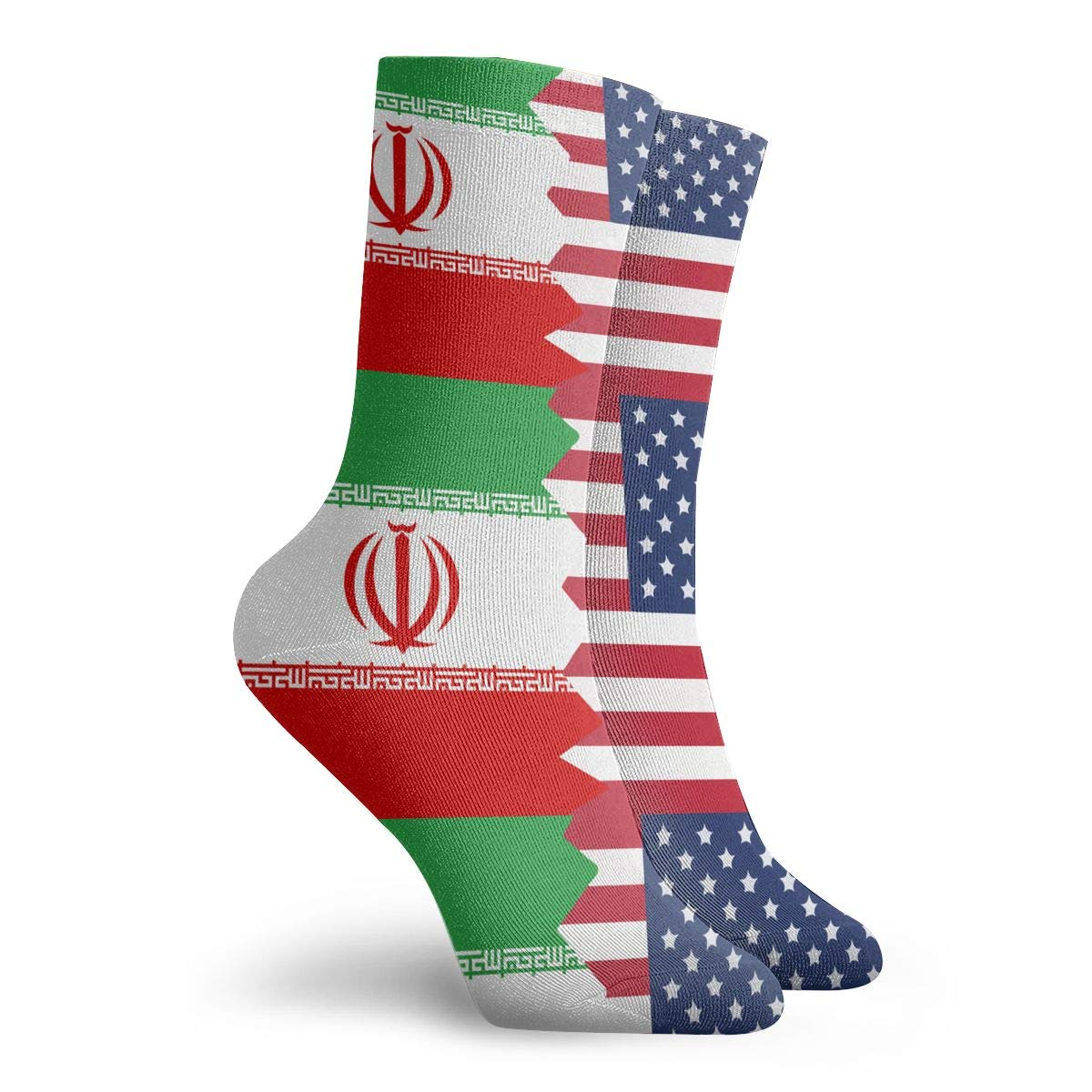 Women Men Iran USA Flag Cushion Crew Socks