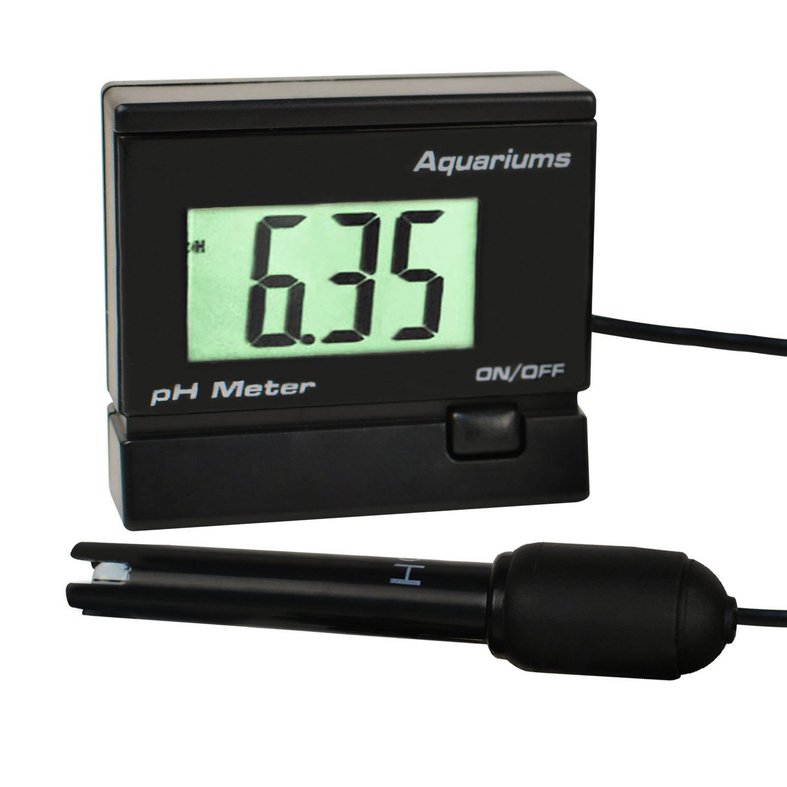 Digital pH Water Quality Meter Tester Monitor with Replaceable BNC Electrode Probe Adjustable Mounting Bracket for Aquarium Tank Waterproof