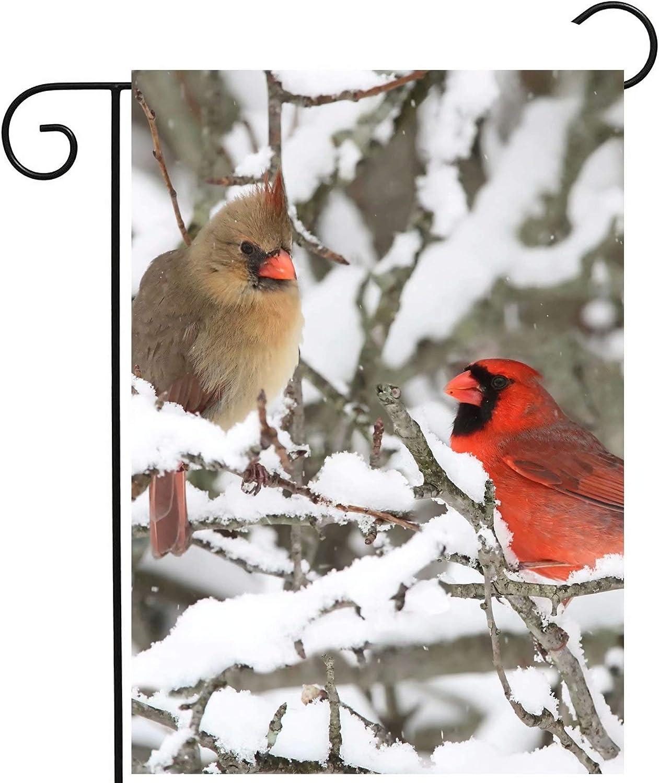 ShineSnow Cardinals Christmas Birds in Winter Snow Tree Wildlife Animal Seasonal Garden Yard Flag 12
