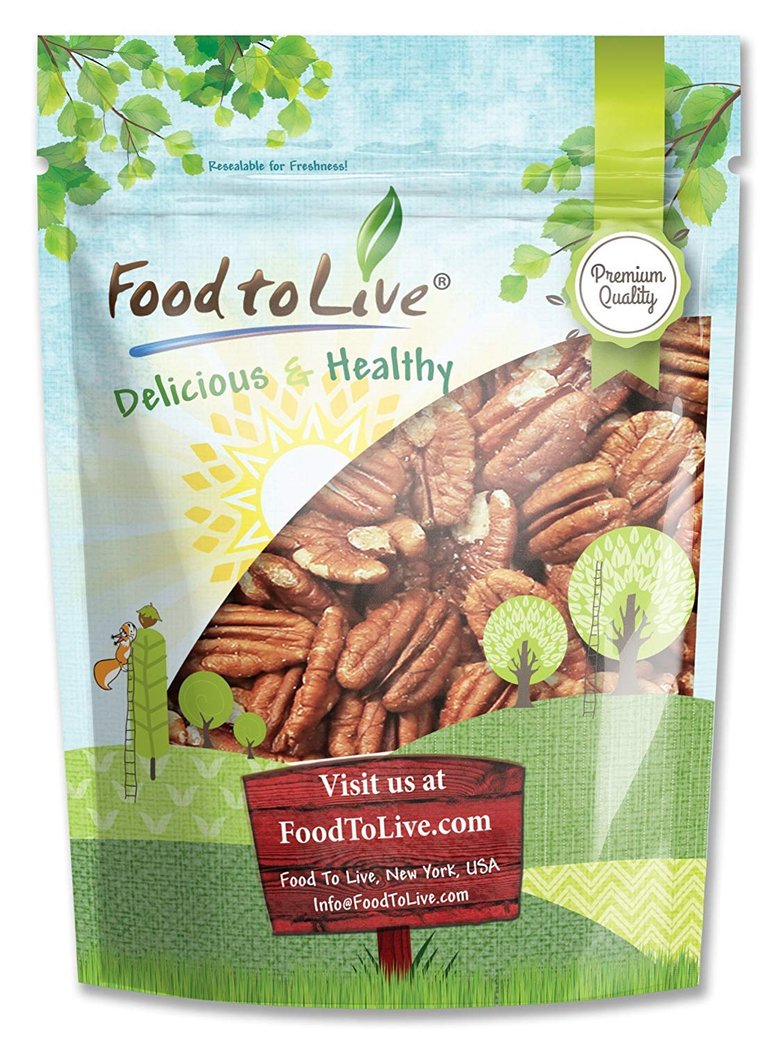 Pecans, 3 Pounds - Raw, No Shell, Kosher by Food to Live
