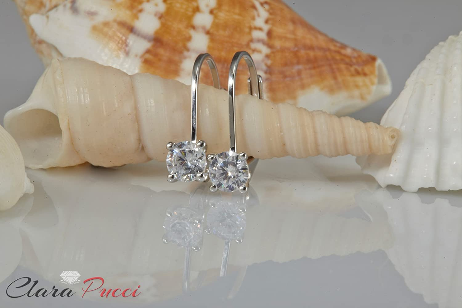 0.1ct Brilliant Round Cut Solitaire Highest Quality Moissanite Unisex Anniversary Gift Leverback Drop Dangle Earrings Real Solid 14k White Gold