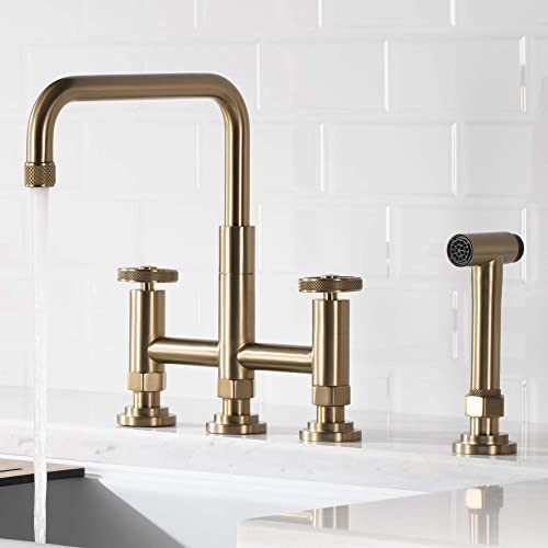 Kraus Urbix Industrial Bridge Kitchen Faucet with Side Sprayer, Brushed Gold