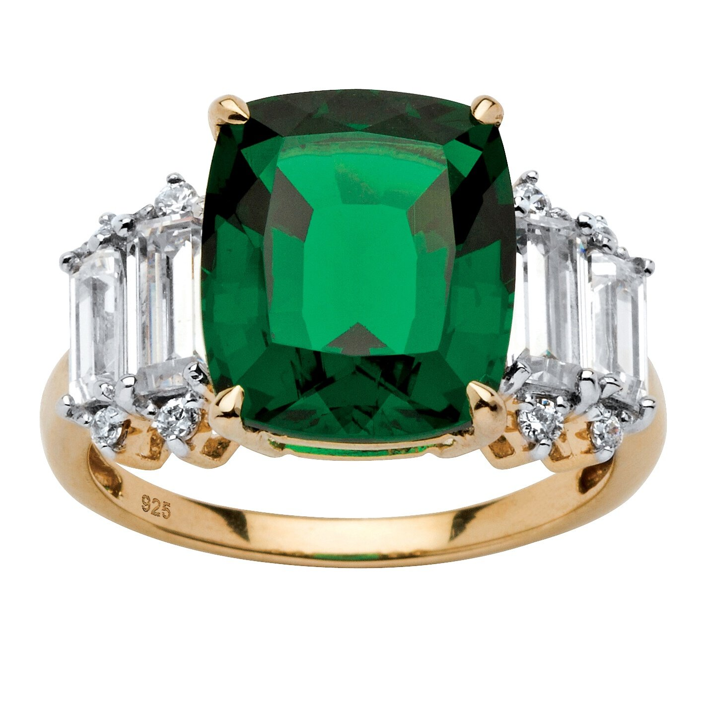 Cushion-Cut Lab Created Green Emerald and Baguette CZ 18k Gold over .925 Silver Ring Size 7