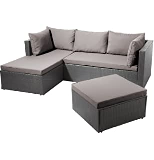 Amazon.de: Polyrattan Loungemöbel Set Gruppe Garnitur Gartenmöbel ...