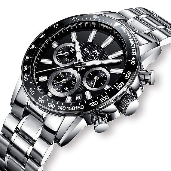 Relojes Hombre Acero Inoxidable Relojes de Pulsera de Lujo Marea Cronometro Impermeable Fecha Calendario Analogicos Cuarzo Reloj Moda Vestidos Casuales ...