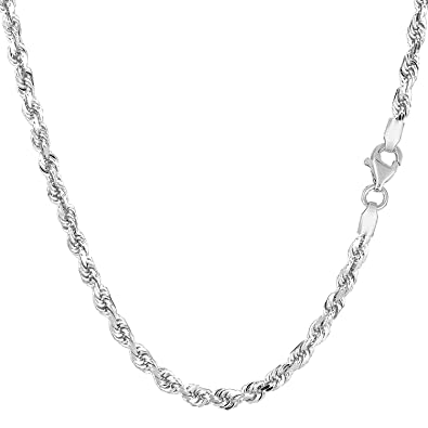 eb55af2fc0922 Amazon.com: 10K White Gold Hollow Rope Chain Necklace, 3mm, 20