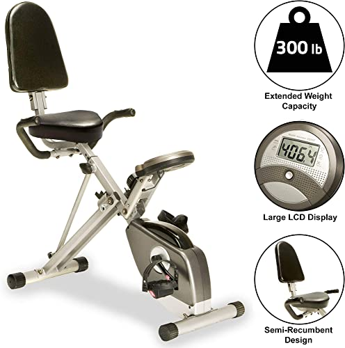 EXERPEUTIC-300SR-Heavy-Duty-300-LBS-Weight-Capacity-Foldable-Recumbent-Bike-with-Balanced-Flywheel
