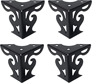 "Tulead Furniture Feet Hollow Out Modern Cabinet Legs Sofa Feet Table Legs Iron Couch Feet Black Cupboard Feet Dresser Legs 3"" Height Wardrobe Feet Pack of 4 with Mounting Screws"