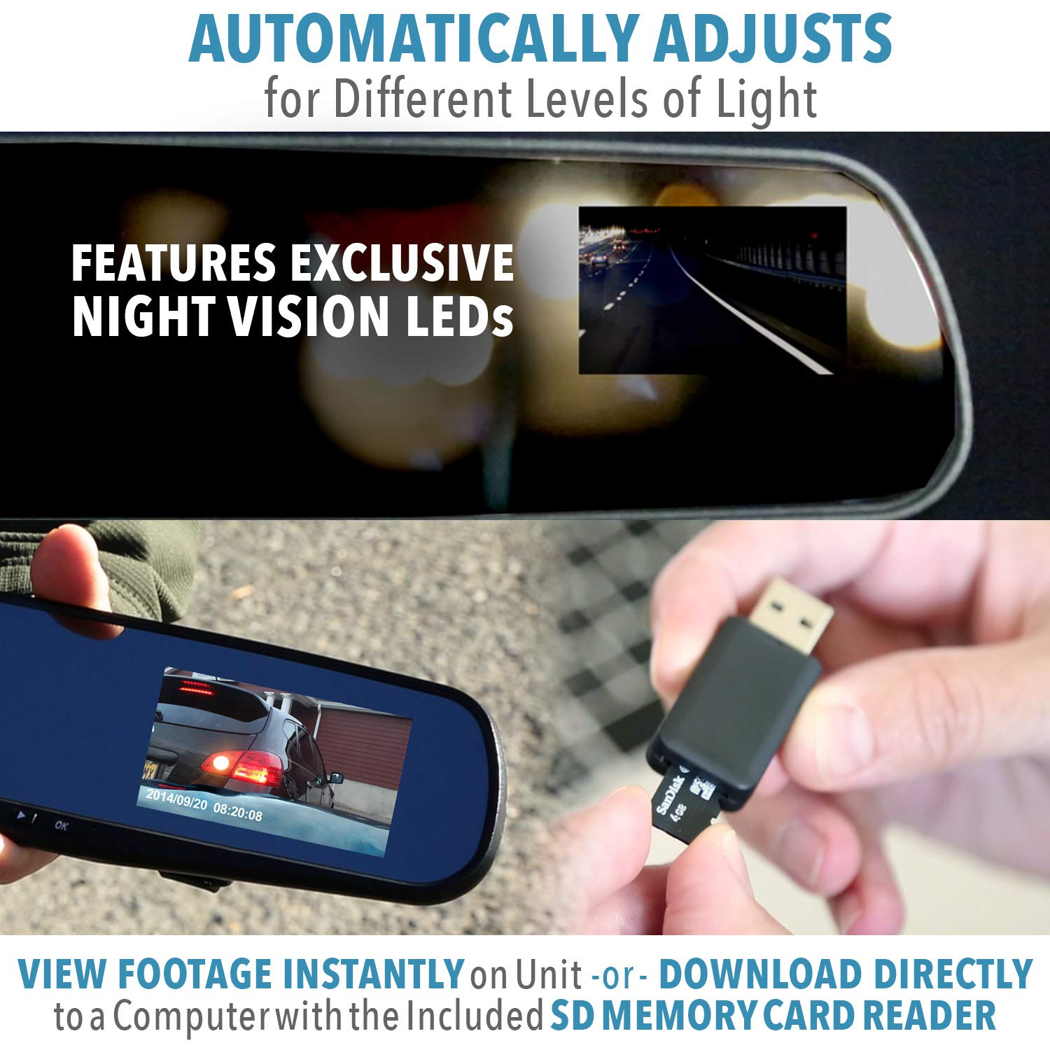 """As Seen on TV Dash Cam 350/° Official HD Mirror Cam Dashboard Camera Video Recorder with Micro SD Card Motion Detection 2.5/"""" LCD InvenTel 858256003562 Night-Mode 8GB 720P HD Loop Recording"""