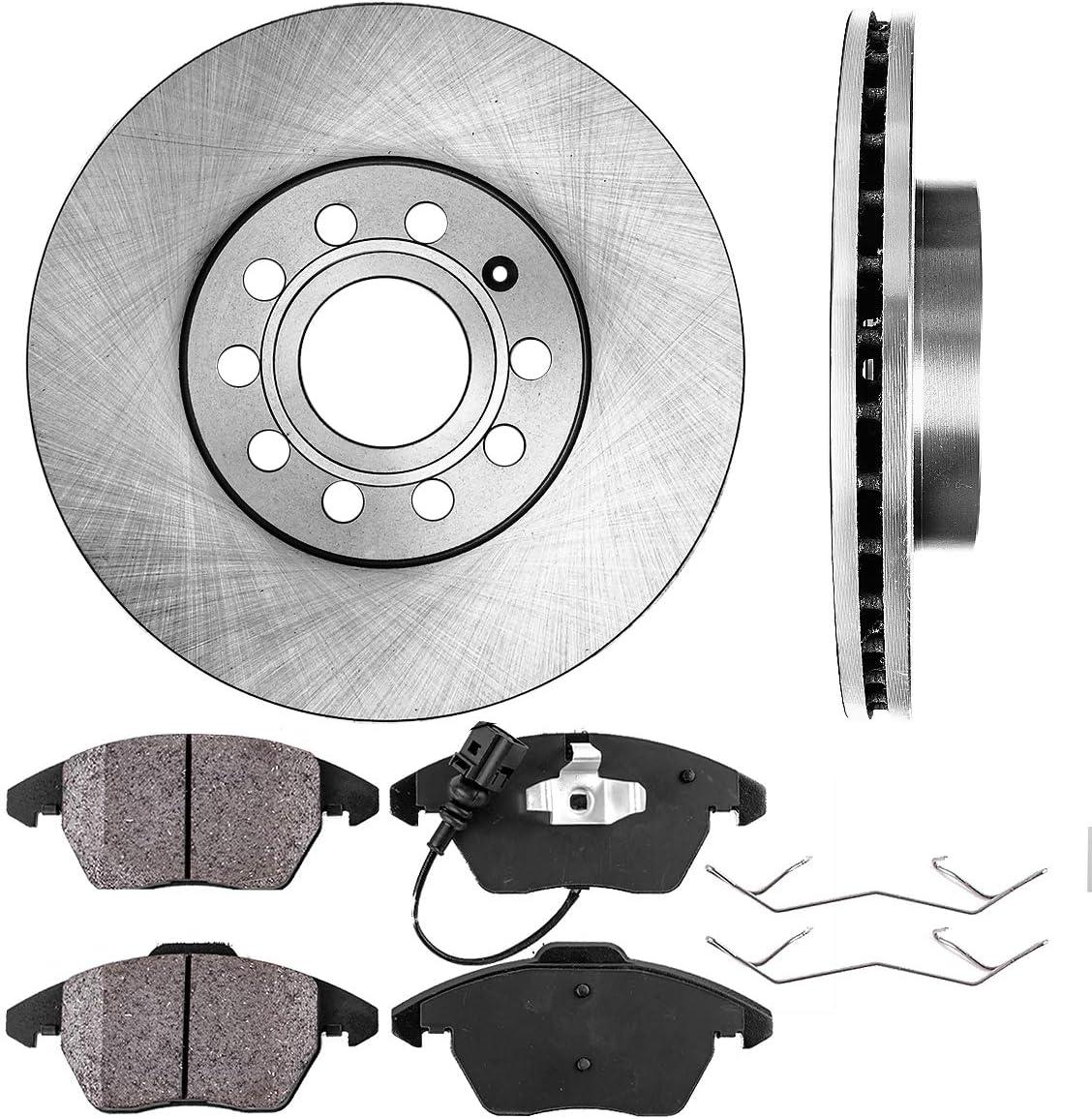 CRK11426 FRONT 288 mm Premium OE 5 Lug Ceramic Brake Pads 2 Clips 4 Brake Disc Rotors +