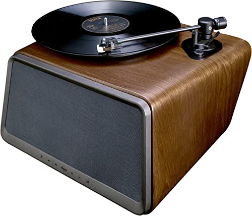 HYM Seed Belt Drive Turntable, Bluetooth Vinyl Record Player with 80W Output Stereo Speaker, RCA Output, Aux in, Dust Cover, Walnut Wood