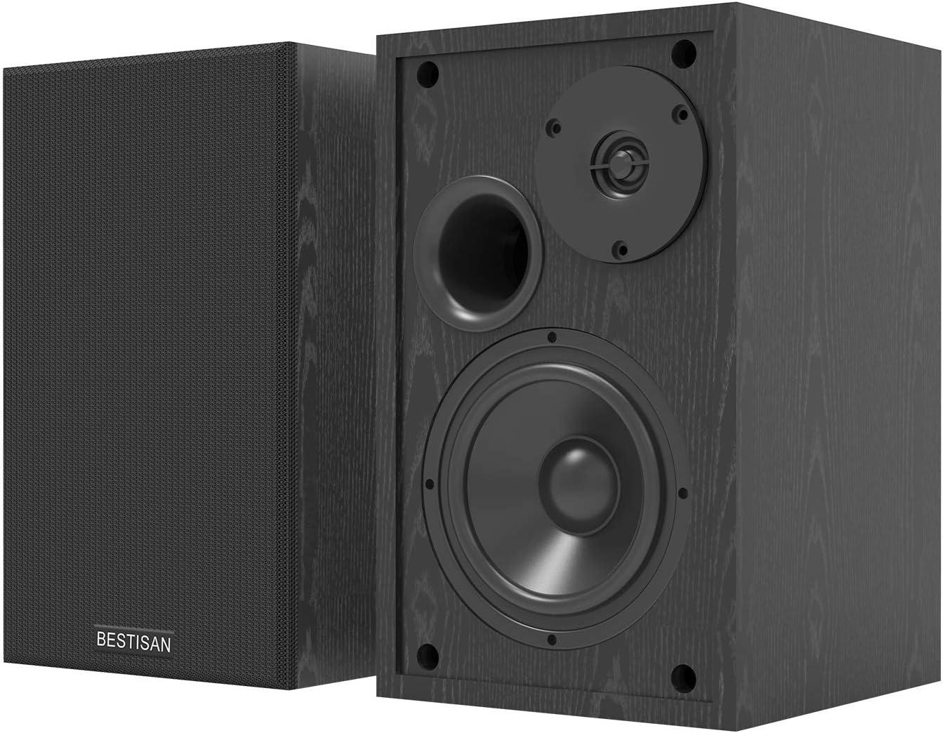 Bookshelf Speakers, BESTISAN Powered Bluetooth 5.0 Home Audio Bookshelf Speakers, 4 inch Near Field Speaker with Deep Bass Response, Studio Monitor with 2 Auxiliary Line Input 50W - Black-2021 Model