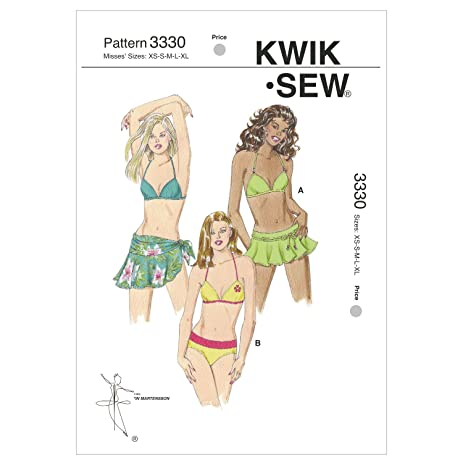 Amazon.com: Kwik Sew K3330 Swimsuit and Wrap Sewing Pattern, Size XS ...