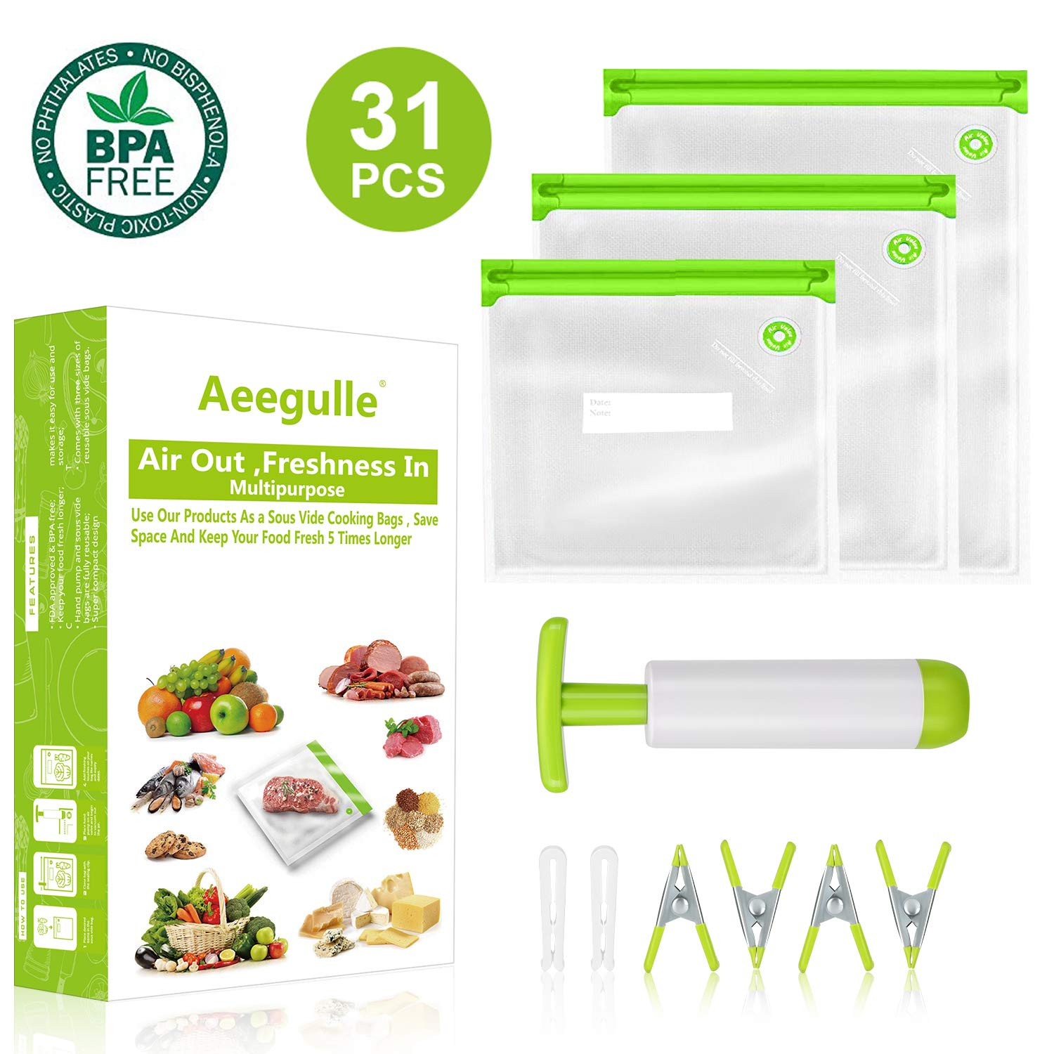 Sous Vide Bags, 24 Reusable Food Vacuum Sealed Bags, 1Improved vacuum hand pump, 2 Bag Sealing Clips and 4 Sous Vide Clips, For Anova and Joule Cookers | Practical for Food Storage | More Space Saving | Food Storage Freezer Safe (31PCS) (Green) by Aeegulle