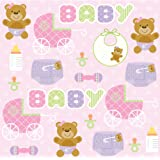 Creative Converting Baby Shower Teddy Baby Pink 16 Count 3-Ply Paper Beverage Napkins