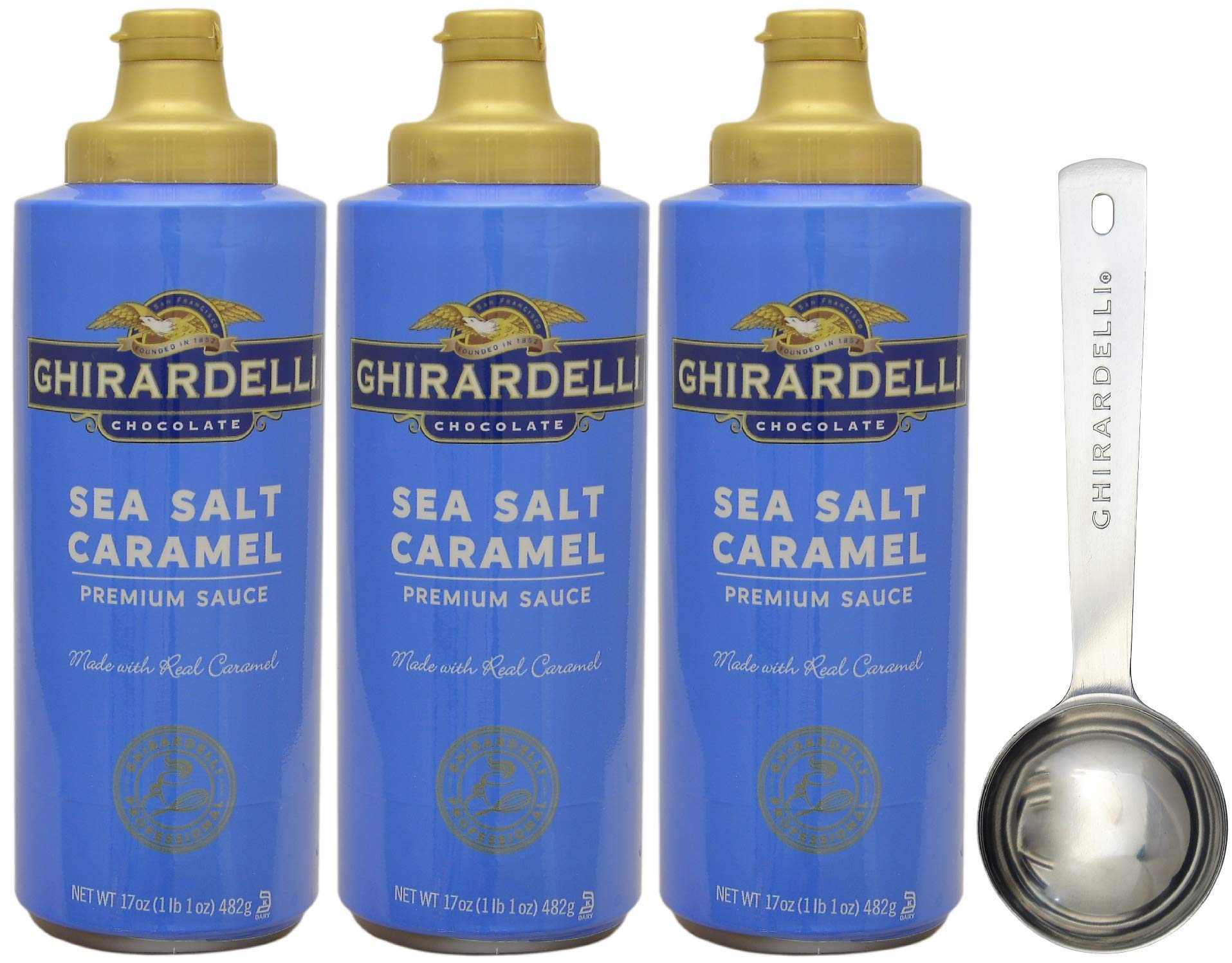 Ghirardelli Salted Caramel Sauce Squeeze Bottle, 17 Ounce (Pack 3) - with Limited Edition Measuring Spoon