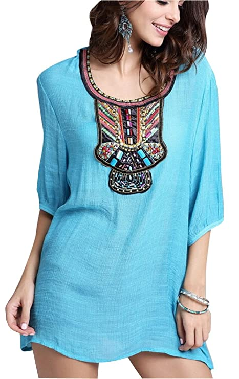 Uget Womens Short Sleeve Embroidered Mexican Peasant Mini Dress