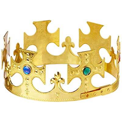 Plastic Jeweled King's Crown (gold) Party Accessory (1 count) (1/Pkg): Kitchen & Dining
