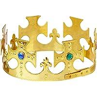 Beistle 60250-GD corona de rey de plástico con joyas, talla única, color dorado