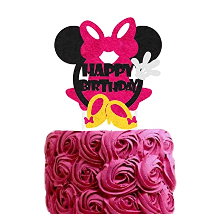 Minnie Mouse Birthday Cake Topper Pink 1st Theme Happy Cakes Pick Quality