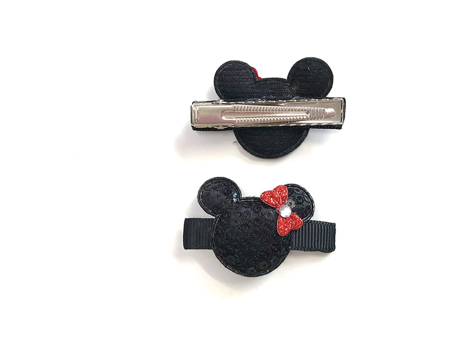 Minnie Mouse Hair Clips Disney Minnie Mouse Set of 2 Clips Sequin Mouse Ears