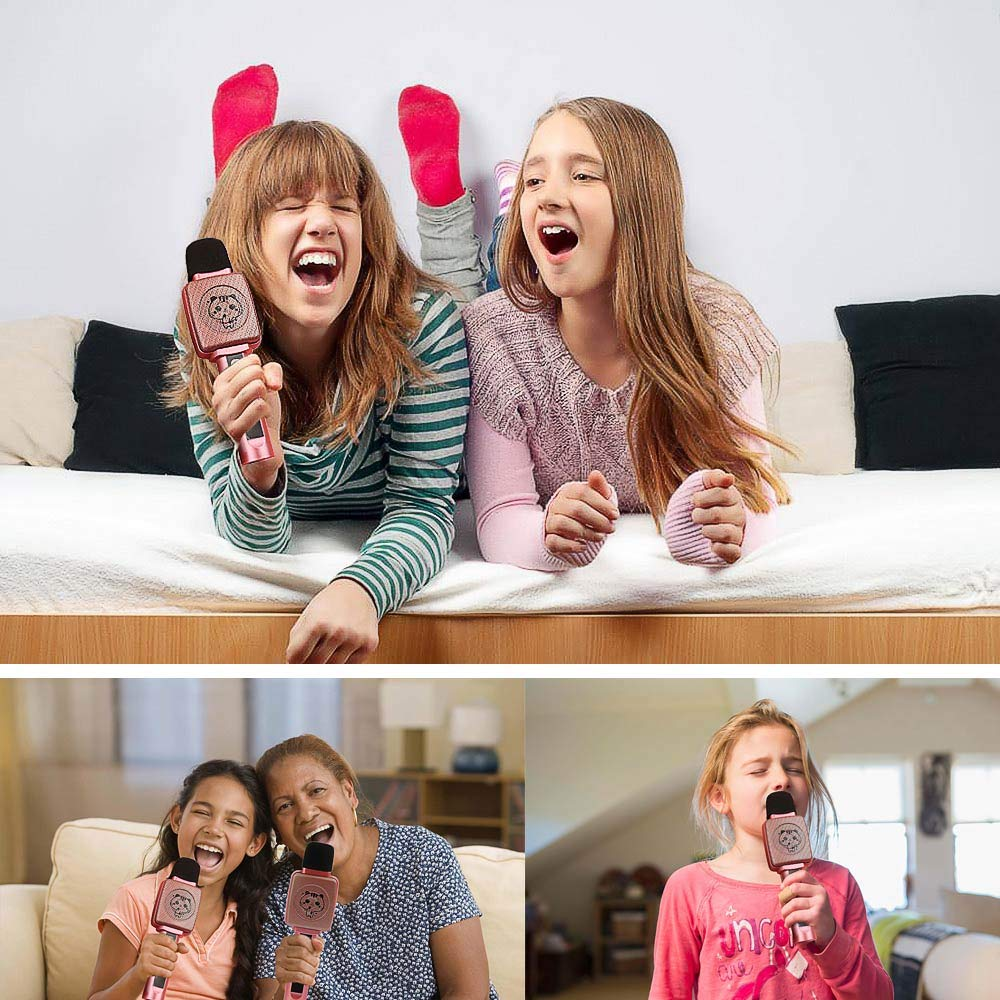 TSUN Kids Karaoke Microphone,Wireless Portable Karaoke Microphone for Kids with Bluetooth Speaker,Voice Changer and Song Recording,Holiday Birthday Gifts for Girl Age 4-18,Best present for Teen Girl by YSUN (Image #8)