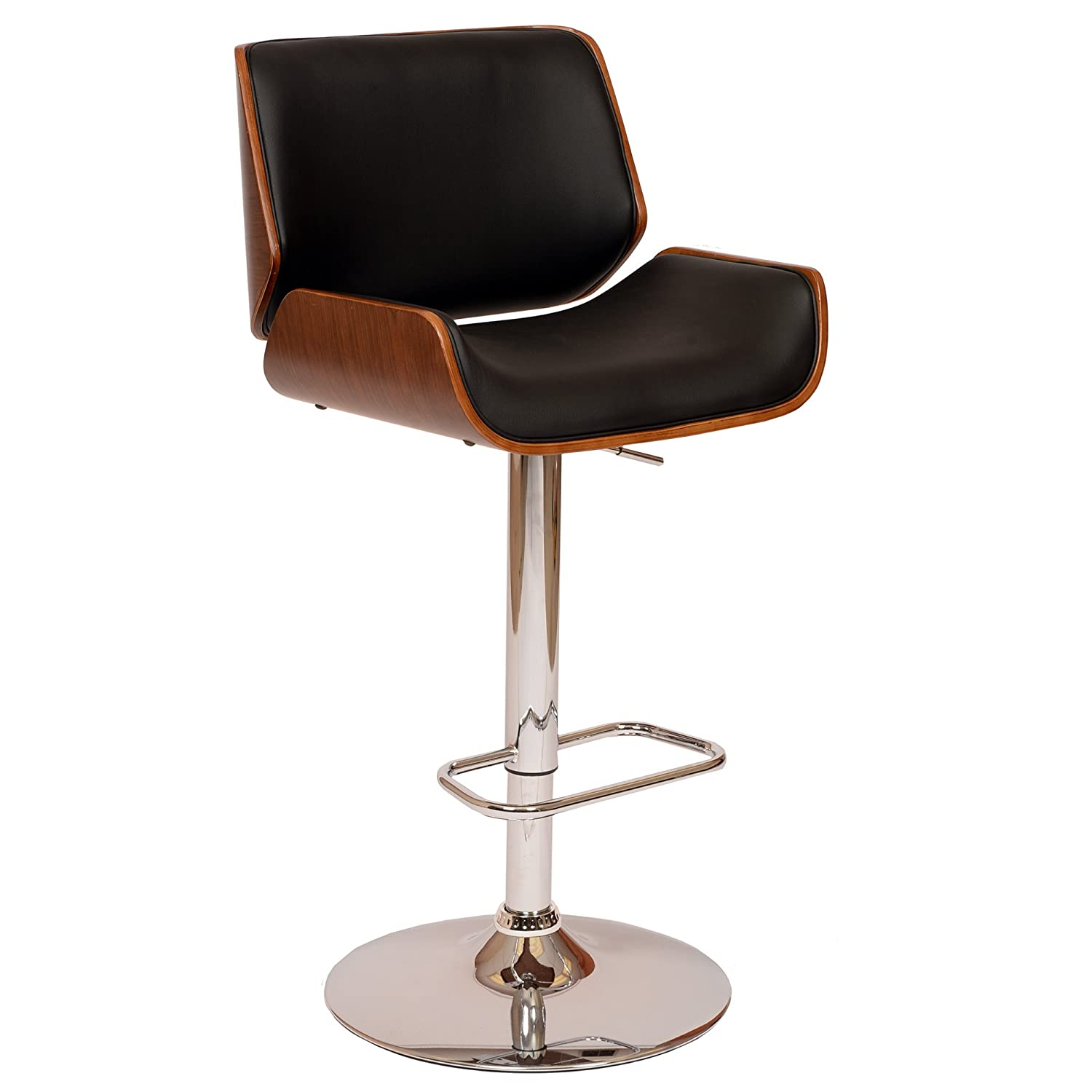 Armen Living LCLOSWBABLWA London Swivel Barstool in Black Faux Leather and Chrome Finish