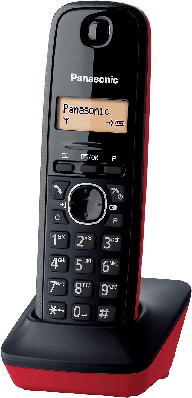 Panasonic KX-TG1611 - Teléfono fijo inalámbrico (LCD, identificador de llamadas, agenda de 50 números, tecla de navegación, alarma, reloj) Negro/Rojo, Tamaño Único: Panasonic: Amazon.es: Electrónica