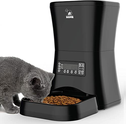 HICTOP Automatic Pet Feeder Auto Pet Dog Timed Programmable Food Dispenser Feeder for Medium Small Pet Puppy Kitten – Portion Control Up to 4 Meals Day 7L Black