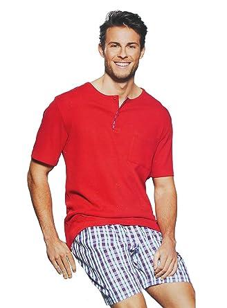 9eec0d43c5 Herren Zweiteiliger Schlafanzug 100% Baumwolle Kurzer Pyjama Anzug  softweich Nachtwäsche Shorty T-Shirt und Hose 2-TLG Set Kurzarm 5 Farben:  Amazon.de: ...
