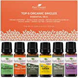 Plant Therapy Top 6 Organic Essential Oil Set - Lavender, Peppermint, Eucalyptus, Lemon, Tea Tree 100% Pure, USDA…