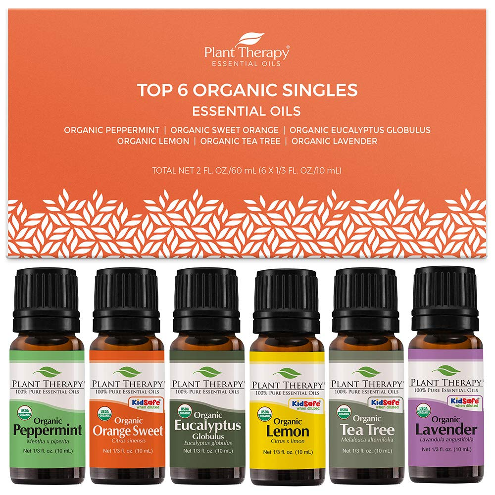 Amazon Com Plant Therapy Top 6 Organic Essential Oil Set Lavender Peppermint Eucalyptus Lemon Tea Tree 100 Pure Usda Organic Natural Aromatherapy Therapeutic Grade 10 Ml 1 3 Oz Beauty