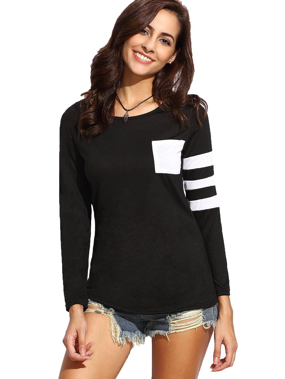 030d7eab Milumia Women's Varsity Striped Sports Long Sleeve Baseball Tee Shirt Top  at Amazon Women's Clothing store: