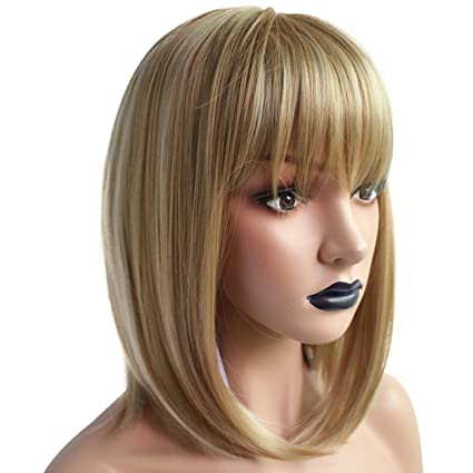 Anogol Hair Cap+Blonde Wig Synthetic Hair With Bangs Fringe Peluca Bob Brown Ombre Wigs Short Natural Straight Cabelo