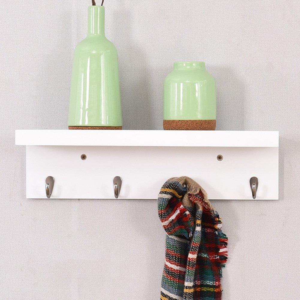 LIANGJUN スカーフ 帽子 ウォールハンガー シェルフ付き フック 無垢材 エントランス リビングルーム、 3サイズ、 使用可能な3色 ( 色 : 木の色 , サイズ さいず : 47X13X13cm ) B07B2P87XZ 47X13X13cm|木の色 木の色 47X13X13cm