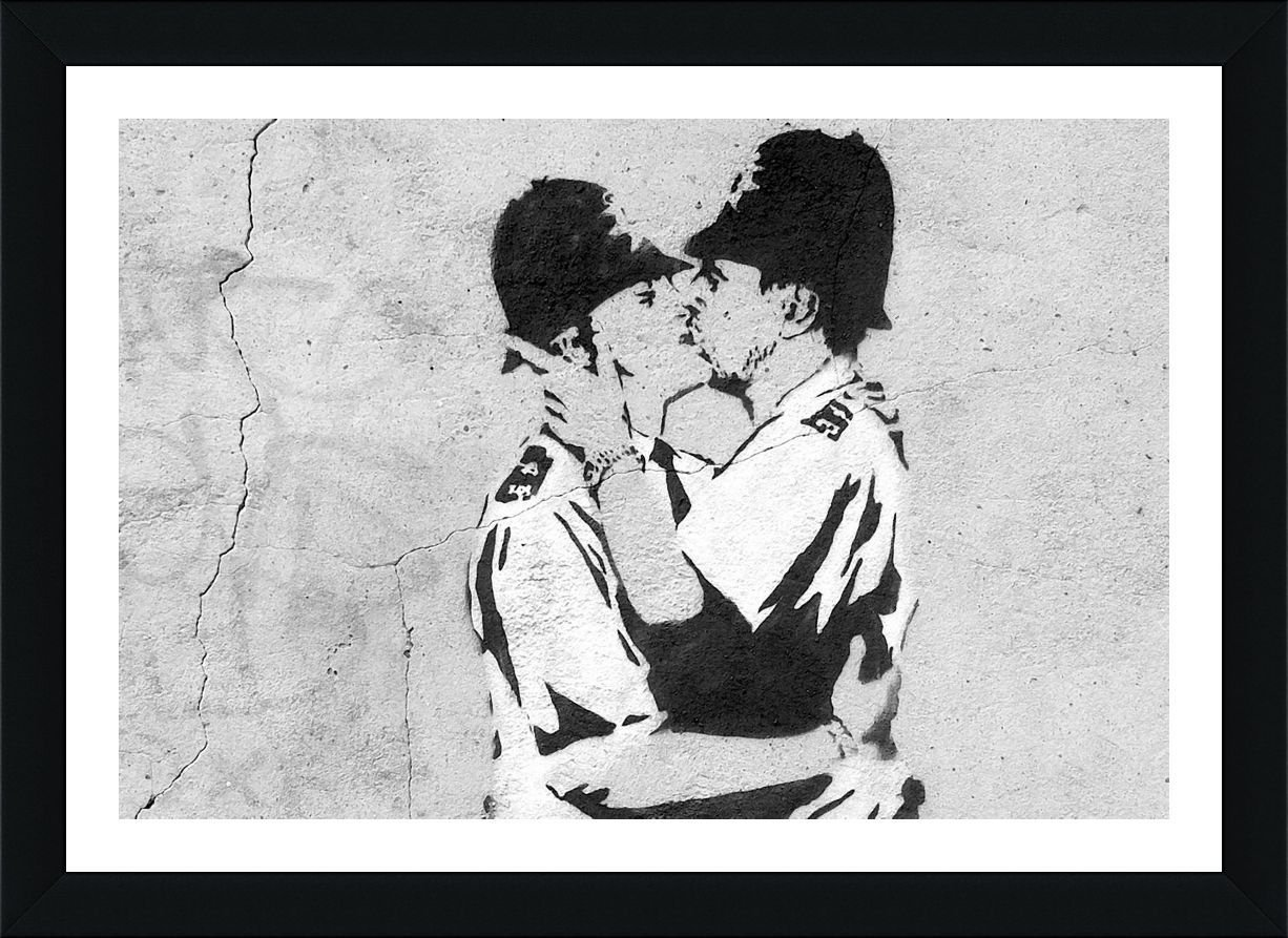 Cops Kissing Banksy Black FRAMED POSTER (Print on 100% Cotton CANVAS on foam board) - READY TO HANG | 27''x19'' | Oil Paintings Prints Frame Framed Art Framed Artwork Wall Art Pictures For Bedroom