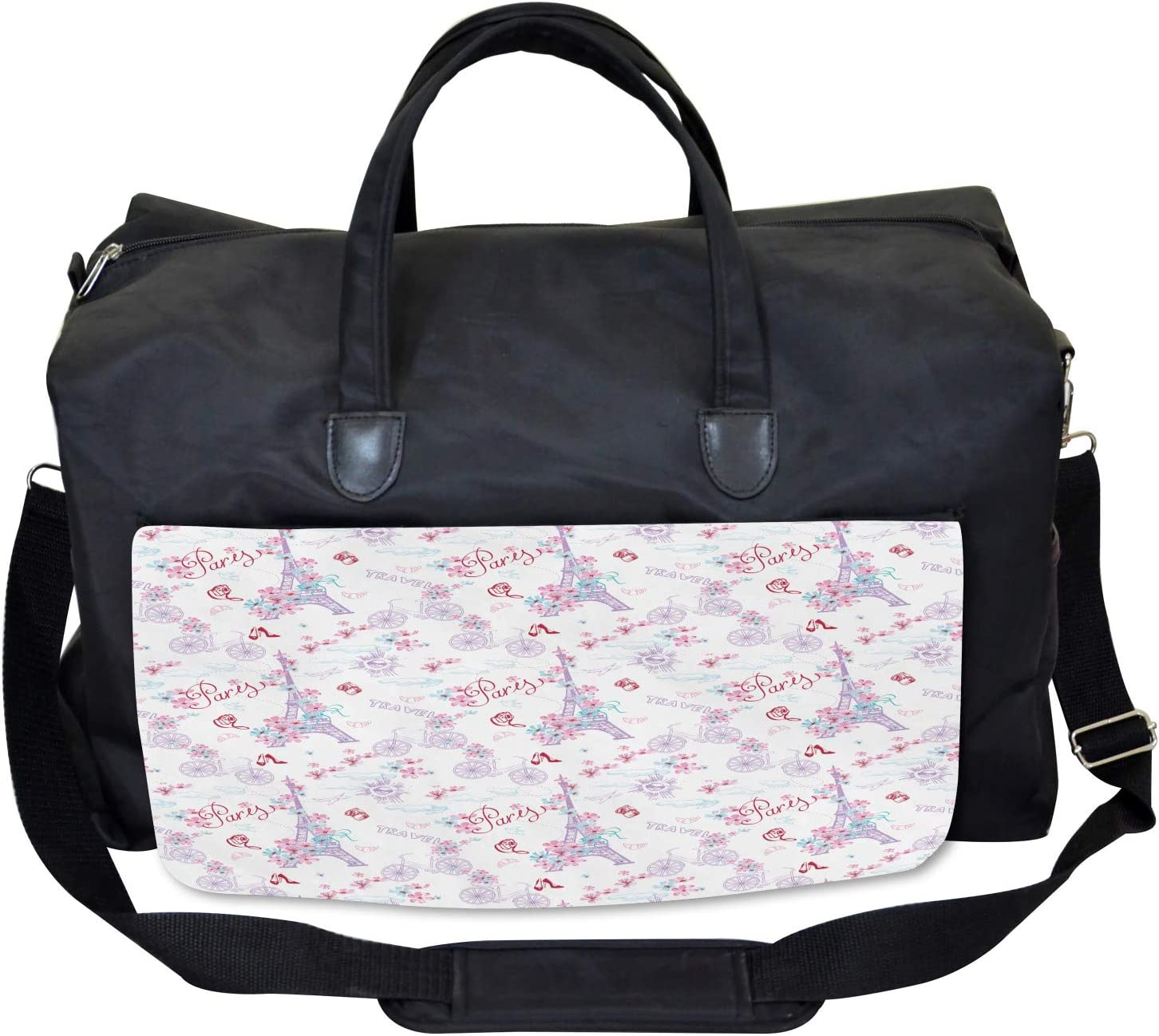 Large Weekender Carry-on Ambesonne Vintage Gym Bag Eiffel Tower and Flower