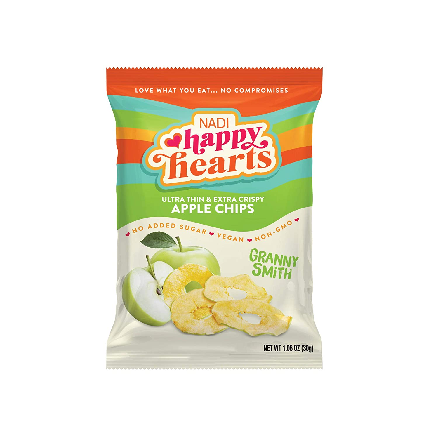 NADI Happy Hearts Dried Apple Chips - Thin Dried Apple Slices - Healthy Snacks for Kids & Adults - Natural Fruit Chips - Vegan Friendly, Gluten Free, Paleo Snack - (Granny Smith, 6 Pack)