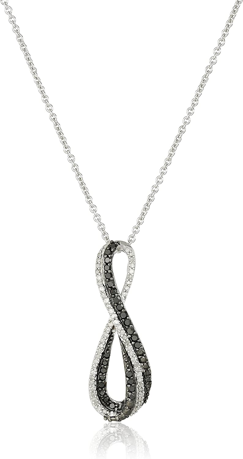 0.10 Cttw TOGETHER US DIAMOND COLLECTION Sterling Silver Two Stone White Round Diamond Fashion Pendant