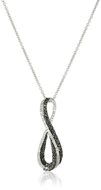 75ead9197 Amazon.com: Sterling Silver Black and White Diamond Infinity Pendant  Necklace (1/3 cttw), 18